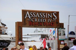 Sign over the entrance for the Assassin\'s Creed: Black Flag experience aboard the Star of India