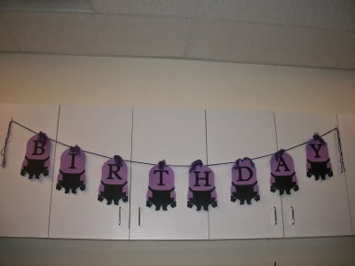 Completed DIY Purple Minion Despicable Me Birthday Banner