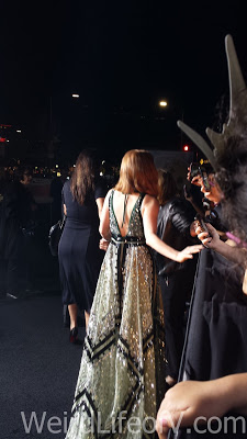 Jessica Chastain chatting with fans in the fan pit