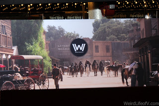 Westworld scene placed at red carpet entrance at the Westworld premiere in Hollywood.