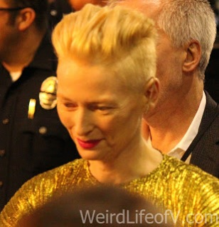Tilda Swinton signing autographs at the Doctor Strange premiere in Hollywood