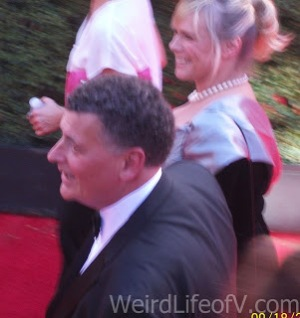 Steven Moffat and Sue Vertue at the 2016 Emmys