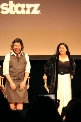 Ron D. Moore and Diana Gabaldon on stage for the Outlander Fan Event in Los Angeles