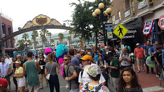 Trolli characters handing out free candy to the crowds in the Gaslamp Quarter