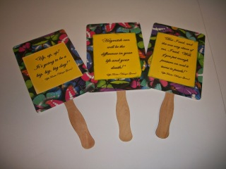 DIY hand fans with Hunger Games movie quotes - Effie Trinket