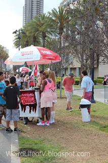 Free Ice cream from Scream Queens carts along the street.