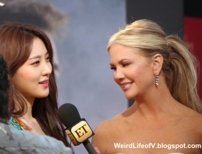 Claudia Kim being interviewed by Nancy O\'Dell from Entertainment Tonight