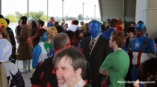 Marvel cosplayers hanging out prior to the group photoshoot