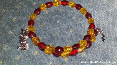 Gryffindor Harry Potter inspired beaded memory wire bracelets