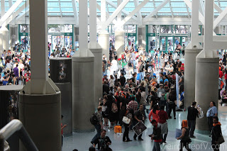 Looking down into the crowd in the South Hall Lobby