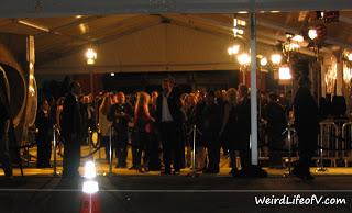 Jeffrey Dean Morgan crossing the street to the fans