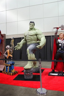 Life size Rocket Raccoon, Hulk and Thor statues