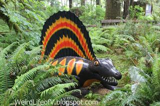 Colorful Dimetrodon statue at Prehistoric Gardens