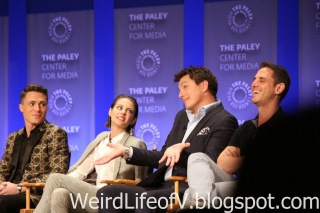 Willa Holland talking about how evil John Barrowman\'s character is while John shrugs