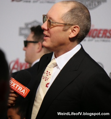 James Spader being interviewed by Extra
