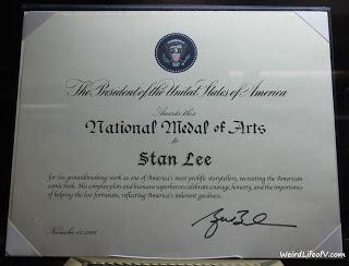 Stan Lee\'s National Medal of Arts certificate