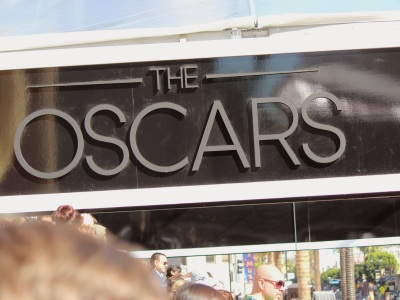 Oscars logo on the covered section of the red carpet in 2013
