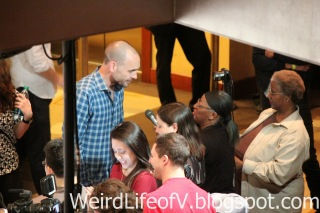 Paul Blackthrone doing press before the panel