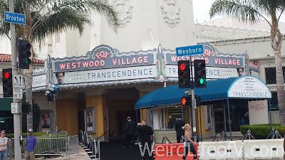 Westwood Village Theater set up for the Transcendence premiere